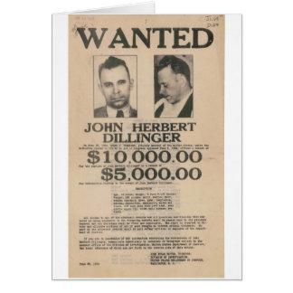 John Dillinger Wanted Poster Card