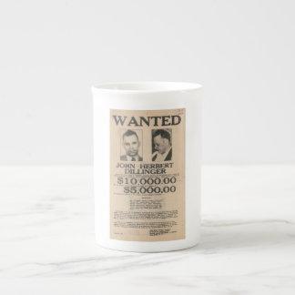 John Dillinger Wanted Poster Porcelain Mug