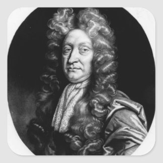 John Dryden  engraved by William Faithorne Square Sticker