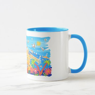 Beach Themed John Dyer Cornish art mug of St Ives in Cornwall