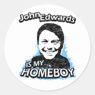 John Edwards es mi homeboy Pegatina Redonda