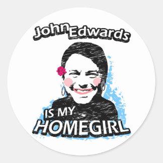 John Edwards is my homegirl Classic Round Sticker