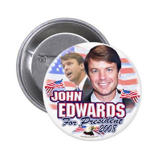 John Edwards para el presidente 2008 botón Pins