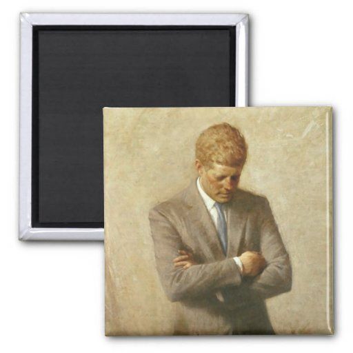 John F. Kennedy 2 Inch Square Magnet
