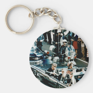 John F Kennedy and Jackie in the Motorcade Dallas Basic Round Button Keychain