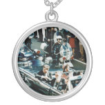 John F Kennedy and Jackie in the Motorcade Dallas Round Pendant Necklace