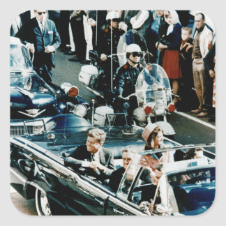 John F Kennedy and Jackie in the Motorcade Dallas Square Sticker