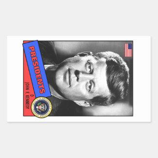 John F. Kennedy Baseball Card Rectangular Sticker