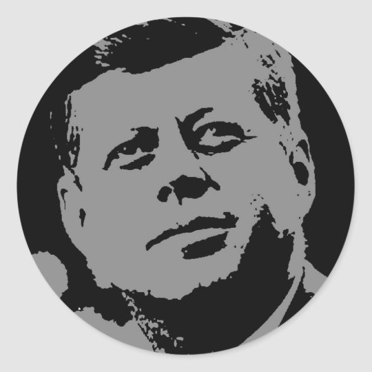 John F. Kennedy  black and grey silhouette Classic Round Sticker