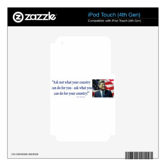 John F Kennedy Decals For iPod Touch 4G