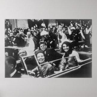John F. Kennedy desfile de automóviles Dallas Teja Poster