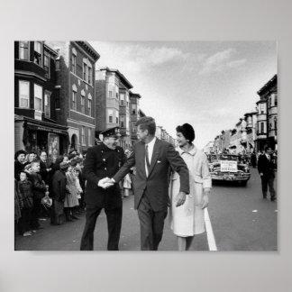 John F. Kennedy en Boston del este Póster