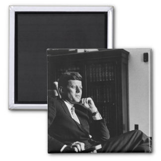 John F. Kennedy in his Rocking Chair 2 Inch Square Magnet