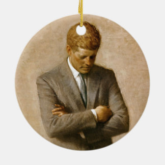 John F Kennedy Official Portrait by Aaron Shikler Ceramic Ornament