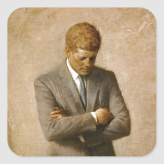 John F Kennedy Official Portrait by Aaron Shikler Square Sticker