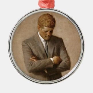 John F. Kennedy Official White House Portrait Round Metal Christmas Ornament