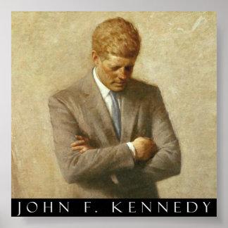John F. Kennedy Portrait On Canvas Poster