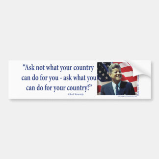 John F. Kennedy - pregunte no lo que su país Pegatina De Parachoque