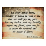 John. F Kennedy Quote Poster