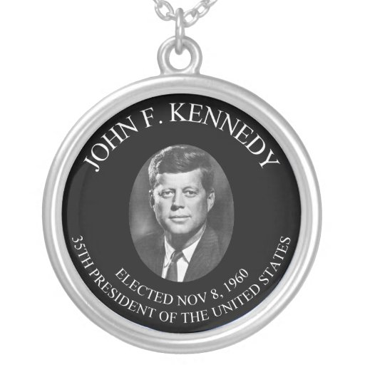 John F. Kennedy Round Pendant Necklace