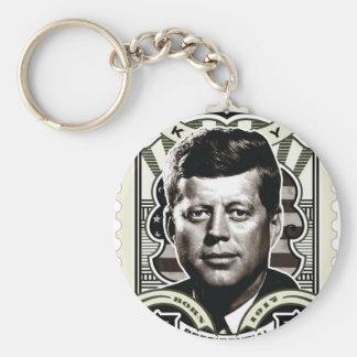 John F. Kennedy Vintage Stamp Art Basic Round Button Keychain