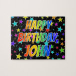 "[ Thumbnail: ""John"" First Name, Fun ""Happy Birthday"" Jigsaw Puzzle ]"