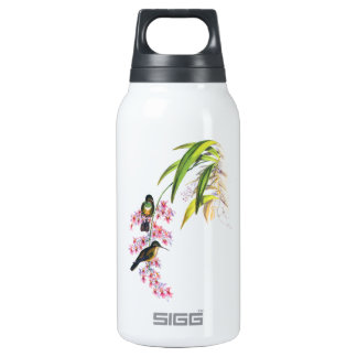 John Gould's Pink Orchids and Hummingbirds Insulated Water Bottle