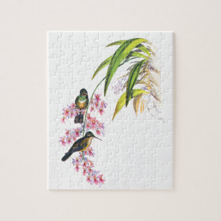 John Gould's Pink Orchids and Hummingbirds Jigsaw Puzzle