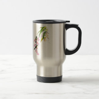 John Gould's Pink Orchids and Hummingbirds 15 Oz Stainless Steel Travel Mug