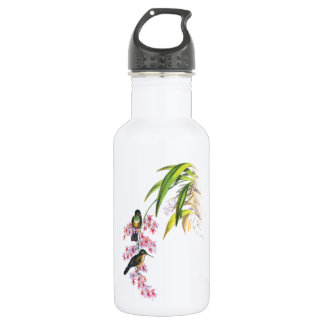 John Gould's Pink Orchids and Hummingbirds Stainless Steel Water Bottle