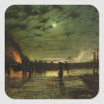 John Grimshaw- In Peril (The Harbour Flare) Square Stickers