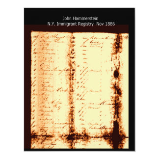 "John Hammerstein Ellis Island Registration 4.25"" X 5.5"" Invitation Card"