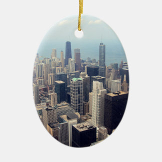 John Hancock Center and Trump Tower Double-Sided Oval Ceramic Christmas Ornament