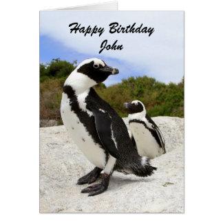 John Happy Birthday Penguins Humor Card