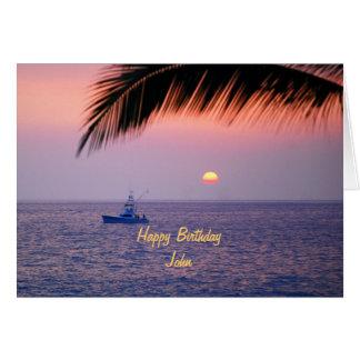John Happy Birthday Tropical Sunset Card