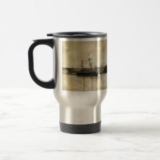 John Henry Twachtman- Sailing Boats, Dieppe Harbor 15 Oz Stainless Steel Travel Mug
