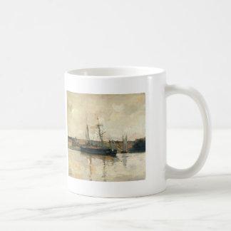 John Henry Twachtman- Sailing Boats, Dieppe Harbor Classic White Coffee Mug