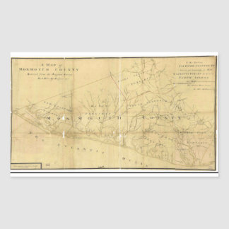John Hills Map of Monmouth County New Jersey 1781 Rectangular Sticker