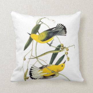John James Audubon Prothonotary Warbler Yellow Throw Pillow