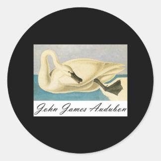 John James Audubon Trumpeter Swan Classic Round Sticker