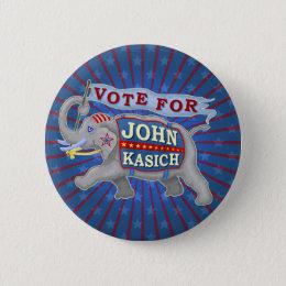 John Kasich President 2016 Republican Elephant V2 Button