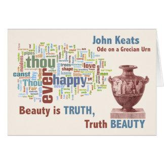 John Keats - Beauty is Truth - Grecian Urn - Art Card