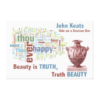 John Keats Ode on a Grecian Urn Poetry Word Cloud Canvas Print