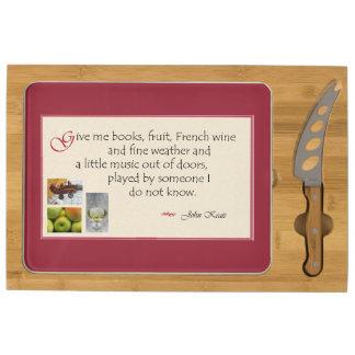 John Keats quote cheese board