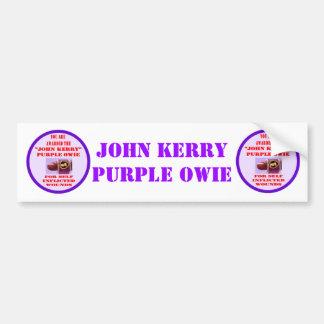 JOHN KERRY PURPLE OWIE CAR BUMPER STICKER