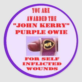 JOHN KERRY PURPLE OWIE CLASSIC ROUND STICKER