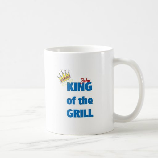 John king of the grill classic white coffee mug