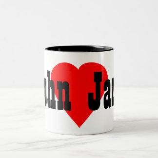 """""""John Loves Jane"""" With Red Heart Mug"""