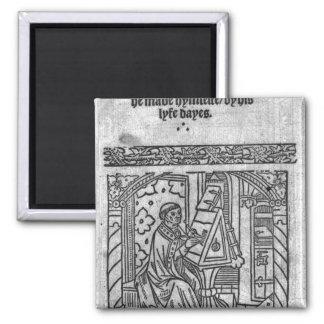 John Lydgate at his desk, c.1515 2 Inch Square Magnet