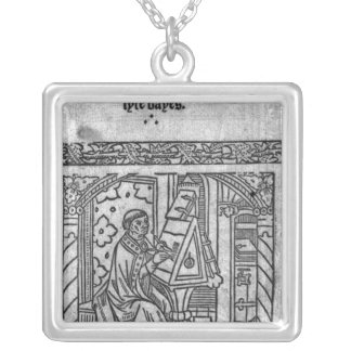 John Lydgate at his desk, c.1515 Silver Plated Necklace